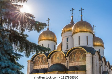 Moscow, Russia - September 22, 2017: Golden building of assumtion cathedral of Dormition in cathedral square of Moscow Kremlin complex.