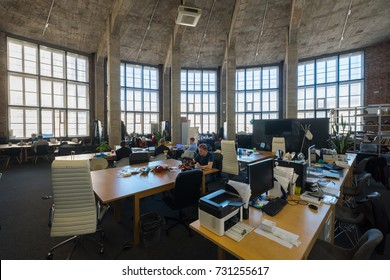 Moscow, Russia - September 22, 2017: People works at modern coworking space