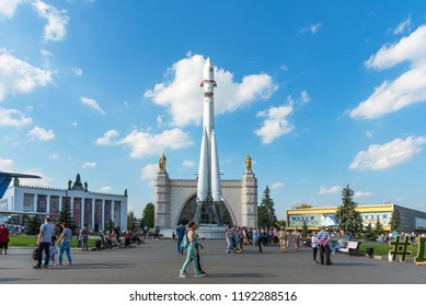 MOSCOW, RUSSIA - SEPTEMBER 22, 2018: Pavilion No. 34 Space and The copy of space launch vehicle Vostok at the VDNKh in Moscow.