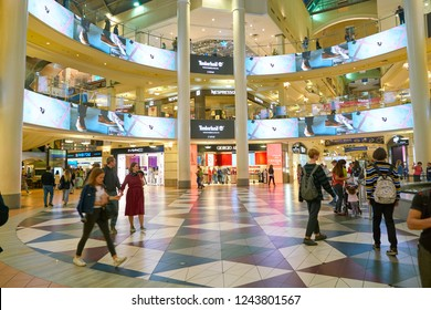 MOSCOW, RUSSIA - SEPTEMBER 22, 2018: interior shot of a shopping center in Moscow.