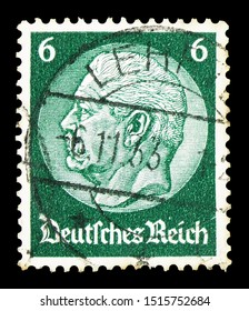 MOSCOW, RUSSIA - SEPTEMBER 22, 2019: Postage stamp printed in German Realm shows Paul von Hindenburg (1847-1934), 2nd President, serie, circa 1934