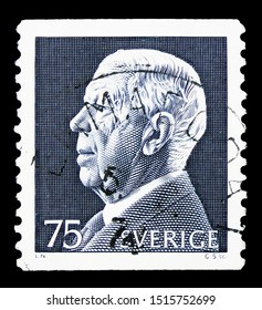 MOSCOW, RUSSIA - SEPTEMBER 22, 2019: Postage stamp printed in Sweden shows King Gustaf VI Adolf, serie, circa 1972