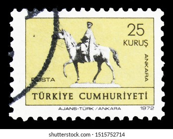 MOSCOW, RUSSIA - SEPTEMBER 22, 2019: Postage stamp printed in Turkey shows Ataturk Statue, Ethnographic Museum, Ankara, Greetings serie, circa 1972
