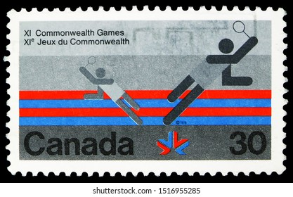 MOSCOW, RUSSIA - SEPTEMBER 22, 2019: Postage stamp printed in Canada devoted to XI Commonwealth Games- Badminton, serie, circa 1978