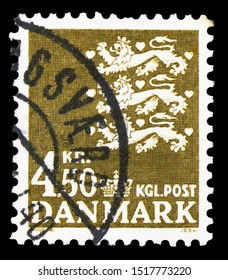 MOSCOW, RUSSIA - SEPTEMBER 22, 2019: Postage stamp printed in Denmark shows Coat of arms, serie, circa 1972
