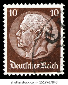 MOSCOW, RUSSIA - SEPTEMBER 22, 2019: Postage stamp printed in German Realm shows Paul von Hindenburg (1847-1934), 2nd President, Paul von Hindenburg in the medallion serie, circa 1934