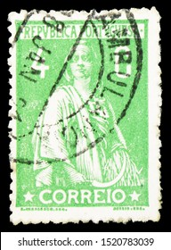 MOSCOW, RUSSIA - SEPTEMBER 22, 2019: Postage stamp printed in Portugal shows Ceres, serie, circa 1917