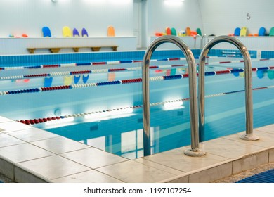 Moscow, Russia - September, 23, 2018: Interior of a swimming pool in Moscow privet school