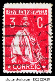 MOSCOW, RUSSIA - SEPTEMBER 23, 2019: Postage stamp printed in Portugal shows Ceres, serie, circa 1917