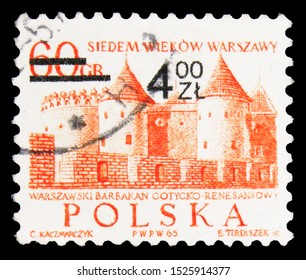 MOSCOW, RUSSIA - SEPTEMBER 23, 2019: Postage stamp printed in Poland shows Barbican, Githic-Renaissance castle, 700th Anniversary Of Warsaw serie, circa 1972