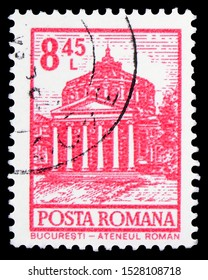 MOSCOW, RUSSIA - SEPTEMBER 23, 2019: Postage stamp printed in Romania shows Bucharest - Atheneum, Definitives - Buildings serie, circa 1972