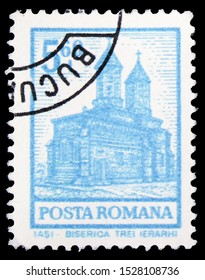 MOSCOW, RUSSIA - SEPTEMBER 23, 2019: Postage stamp printed in Romania shows Iasi - Trei Ierarhi Church, Definitives - Buildings serie, circa 1972