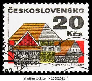 MOSCOW, RUSSIA - SEPTEMBER 23, 2019: Postage stamp printed in Czechoslovakia shows Slovensko - Čičmany, Folk Architecture serie, circa 1972