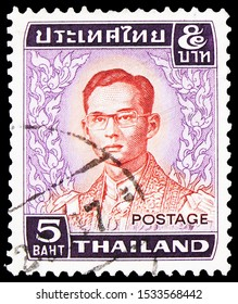 MOSCOW, RUSSIA - SEPTEMBER 23, 2019: Postage stamp printed in Thailand shows King Bhumipol, King Bhumibol Adulyadej (1972-1979) serie, circa 1972