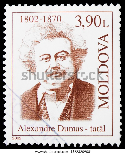 MOSCOW, RUSSIA - SEPTEMBER 23, 2019: Postage stamp printed in shows Alexander Dumas, Famous People serie, circa 2002