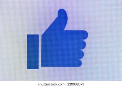 Moscow, Russia - September 24, 2014:Like us on Facebook icon on computer screen. Facebook is one of the largest social networks in the world. Was founded in 2004 by Mark Zuckerberg