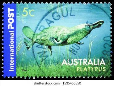 MOSCOW, RUSSIA - SEPTEMBER 24, 2019: Postage stamp printed in Australia shows Duck-billed Platypus (Ornithorhynchus anatinus), Australian Native Wildlife - International Post serie, circa 2006
