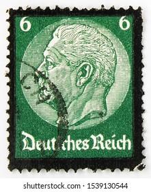 MOSCOW, RUSSIA - SEPTEMBER 24, 2019: Postage stamp printed in German Realm shows Paul von Hindenburg (1847-1934), 2nd President, 6 German reichspfennig, Death of Hindenburg serie, circa 1934