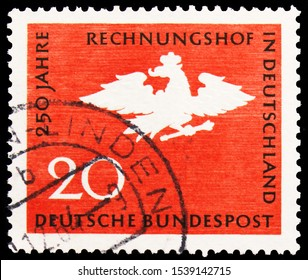 MOSCOW, RUSSIA - SEPTEMBER 24, 2019: Postage stamp printed in Germany shows Court of Accounts of Germany, 250 Years, 20 Pf. - German pfennig, serie, circa 1964