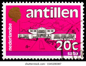 MOSCOW, RUSSIA - SEPTEMBER 24, 2019: Postage stamp printed in Netherlands Antilles shows Saba, Definitives - Buildings serie, circa 1983