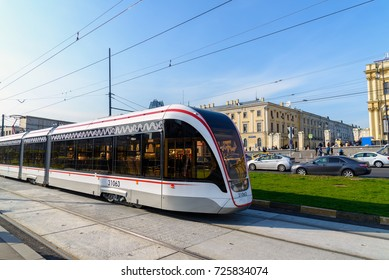 Moscow, Russia - September 25. 2017. Modern tram is at the stop of Komsomolskaya Square