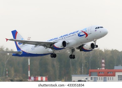 MOSCOW, RUSSIA - SEPTEMBER 26, 2014: Airbus A320 Ural Airlines take off at Domodedovo international airport