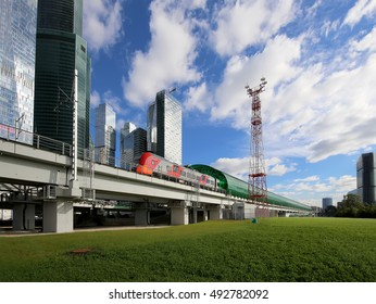 MOSCOW, RUSSIA - SEPTEMBER, 26 2016: Little Ring of the Moscow Railways and skyscrapers of the International Business Center (City), Russia. Delovoy Tsentr  railway station