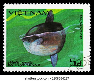 MOSCOW, RUSSIA - SEPTEMBER 26, 2018: A stamp printed in Vietnam shows Ocean Sunfish (Mola mola), Fish serie, circa 1984