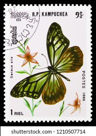 MOSCOW, RUSSIA - SEPTEMBER 26, 2018: A stamp printed in Kampuchea (Cambodia) shows Chestnut Tiger (Parantica sita), Butterflies serie, circa 1986
