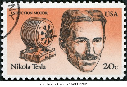 MOSCOW, RUSSIA - SEPTEMBER 26, 2019: A stamp printed in USA shows Nikola Tesla (1856-1943), American Inventors, induction motor, 1983
