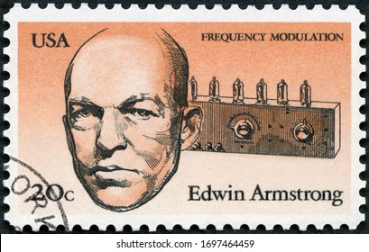 MOSCOW, RUSSIA - SEPTEMBER 26, 2019: A stamp printed in USA shows Edwin Howard Armstrong (1890-1954), American Inventors, Frequency Modulation, 1983