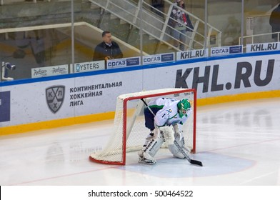 MOSCOW, RUSSIA - SEPTEMBER 27, 2016: Goalkeeper V. Fokin (1) on hockey game Spartak vs Ugra on Russia KHL championship on September 27, 2016, in Moscow, Russia. Ugra won 3:2
