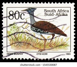 MOSCOW, RUSSIA - SEPTEMBER 27, 2019: Postage stamp printed in South Africa shows Kori Bustard (Ardeotis kori), Definitives Endangered Animals serie, circa 1993