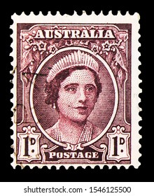 MOSCOW, RUSSIA - SEPTEMBER 27, 2019: Postage stamp printed in Australia shows Queen Elizabeth, King George VI, Queen Elizabeth, Fauna of Australia serie, circa 1943