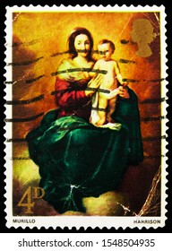 MOSCOW, RUSSIA - SEPTEMBER 27, 2019: Postage stamp printed in United Kingdom shows Madonna and Child (Murillo), Christmas 1967 - Paintings serie, circa 1967