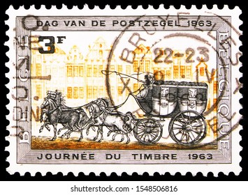 MOSCOW, RUSSIA - SEPTEMBER 27, 2019: Postage stamp printed in Belgium shows Postcoach, 3 fr - Belgian franc, Stamp Day serie, circa 1963