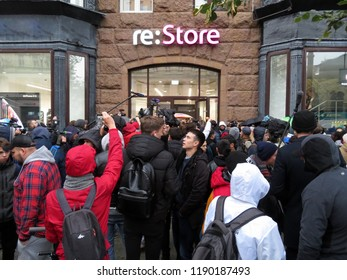 Moscow, Russia - September 28, 2018: A large queue of buyers for a new IPhone XS near Re: Store on Tverskaya street in Moscow