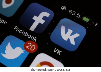 Moscow, Russia - September, 28 2018 Social media applications displayed on the screen of a smartphone