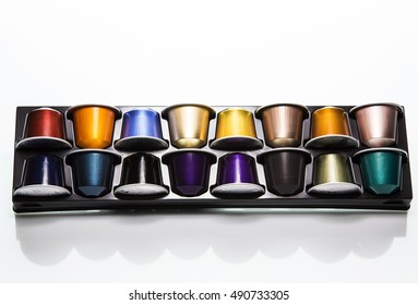 MOSCOW, RUSSIA- SEPTEMBER 29, 2016: Nespresso coffee capsules mix in pack on white background. Nespresso is worldwide company of coffe pruducts.