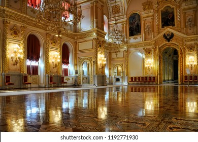 MOSCOW, RUSSIA - September 29, 2018 Light Reflections in the Splendid St. Alexander Hall. Interior of Alexandrovskiy (St. Alexander's) Hall of the Grand Kremlin Palace.