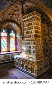 MOSCOW, RUSSIA - September 29, 2018 Beautiful colorful tiled stove and windows in the antechamber (entrance-room) in Terem Palace, the residence of Russian tsars.