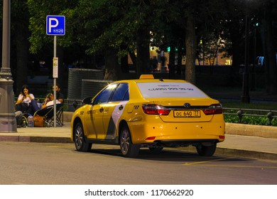 Moscow, Russia - September, 3, 2018: taxi on a parking in Moscow
