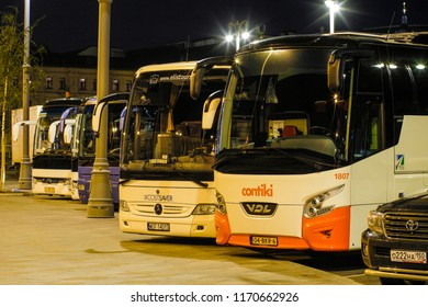 Moscow, Russia - September, 3, 2018: buses on a bus terminal in Moscow, Russia