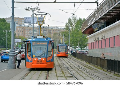 MOSCOW, RUSSIA - SEPTEMBER 3 - 71-623 trams (KTM-23), produced by UKVZ, serving a Moscow tramway route in the area of VNDKh on September 3, 2016 in Moscow, Russia