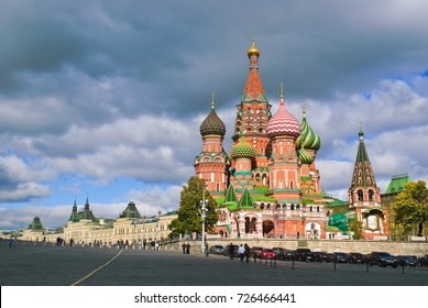 Moscow, Russia - September 30, 2010: St. Basil's Cathedral on the background of storm clouds