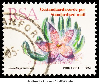 MOSCOW, RUSSIA - SEPTEMBER 30, 2019: Postage stamp printed in South Africa shows Stapelia grandiflora, Standartised mail, Hein Botha,  serie, circa 1993