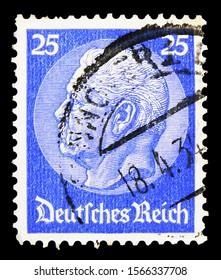 MOSCOW, RUSSIA - SEPTEMBER 30, 2019: Postage stamp printed in German Realm shows Paul von Hindenburg (1847-1934), 2nd President, Paul von Hindenburg in the medallion serie, circa 1932