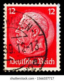 MOSCOW, RUSSIA - SEPTEMBER 30, 2019: Postage stamp printed in German Realm shows Paul von Hindenburg (1847-1934), 2nd President, Paul von Hindenburg in the medallion serie, circa 1934