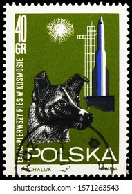 """MOSCOW, RUSSIA - SEPTEMBER 30, 2019: Postage stamp printed in Poland shows Dog """"Laika"""" (Canis lupus familiaris) and Missile Launcher, Research in space serie, circa 1964"""