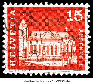 MOSCOW, RUSSIA - SEPTEMBER 30, 2019: Postage stamp printed in Switzerland shows Saint Mauritius Church, Appenzell, Postal History - Motifs and Monuments serie, circa 1968